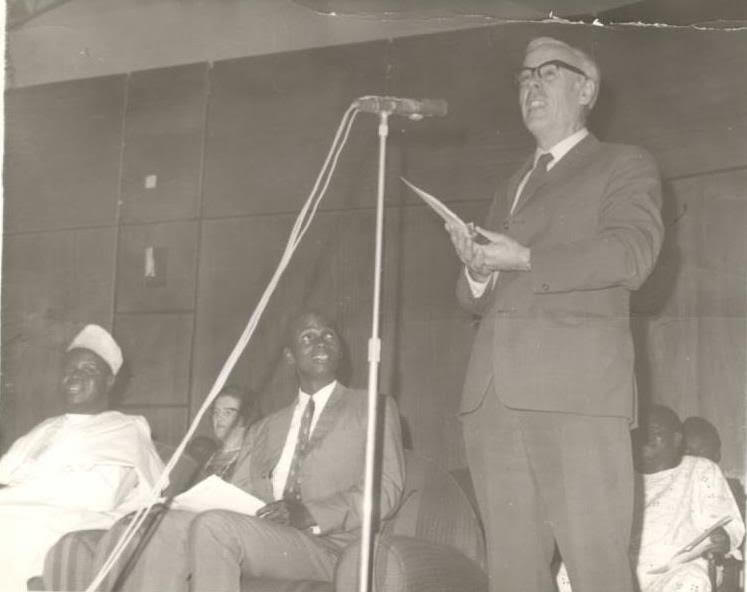 O.D Wilmshurts making a speech on the occasion of the launching of GOSA in 1972. Seated is Dr. Obed Okwuebu, the First GOSA President.