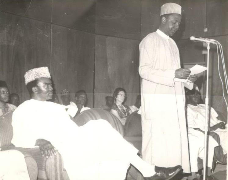 Brig. Abba Kyari, Governor of the then North Central State making his Speech on the Occasion of GOSA Launch 1972.