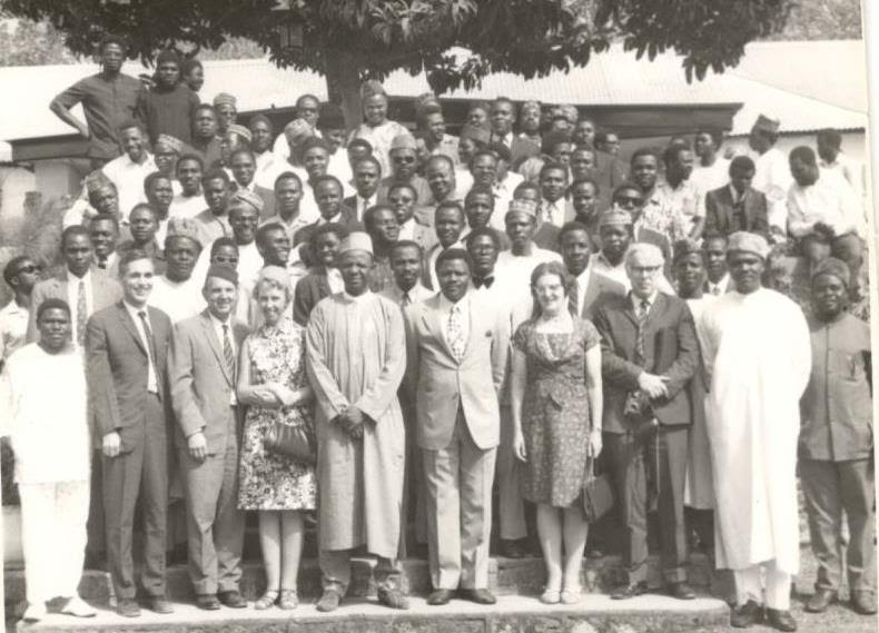 Group Picture at GOSA Launching in 1972. Front Line (L-R) E.Y Lot, P. Bradford, Dearsely & Wife, Brig. Abba Kyari, Gen. I.D Bisalla, Coonie and O.D Wilmshursts and J.D Gomwalk.